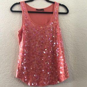 Women's Pink Sequins Tank Top